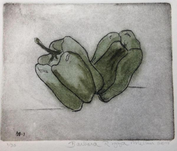 *Garden Series: Peppers (hand-colored drypoint)