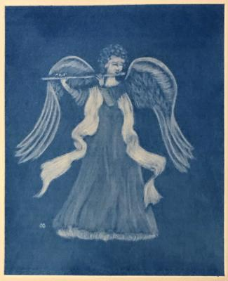 Angel with Flute (blue)
