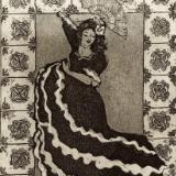 9 Ladies Dancing: Flamenco (Andalusia Spain) with Spanish tiles border