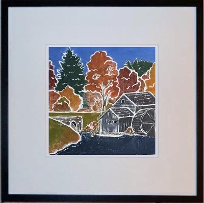 Mabry Mill white line print